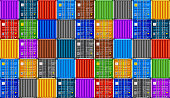 Stack of containers in harbor background. Seamless texture industrial background. Vector