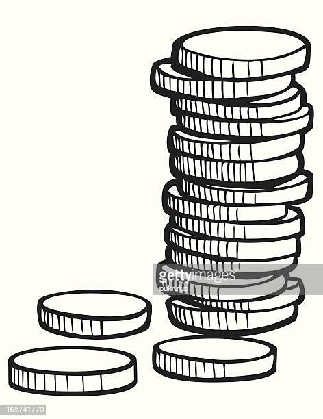 Stack of Coins in Black and White