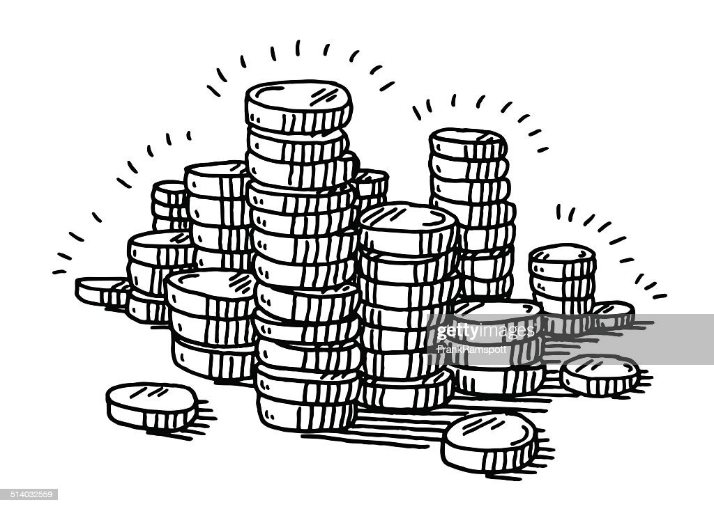 Line Drawing Uk : Stack of coins money drawing vector art getty images