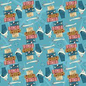 Stack of vintages suitcases, ship, airplane, and wind rose. Seamless background pattern. Vector illustration