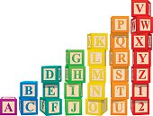 Colorful alphabet blocks.  File is organized into layers for easy modification.  Download includes, EPS, JPS and PDF formats.