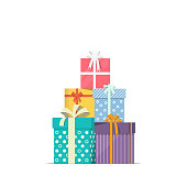 Stacked gift boxes in flat style. Concept design of holiday discount sale. Pile of presents icon. Vector illustration.