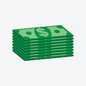 Stacks dollar cash. Vector illustration in flat design on white background