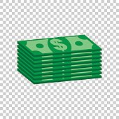 Stacks of dollar cash. Vector illustration in flat design on isolated background