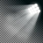 Stadium lights effect on a transparent background. Stock vector illustration.