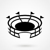 Stadium vector icon with round shadow
