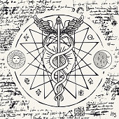 Vector banner with a hand drawn illustration of a Caduceus with an octagonal star. The staff of Hermes with two snakes with wings against the background of an old illegible manuscript. Medical symbol