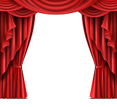 Opened red stage curtain realistic vector illustration with copyspace on white background. Grand opening concept, performance or event premiere poster, announcement banner template with theater stage