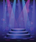 stage podium disco nightclub dance floor spotlight light beams background