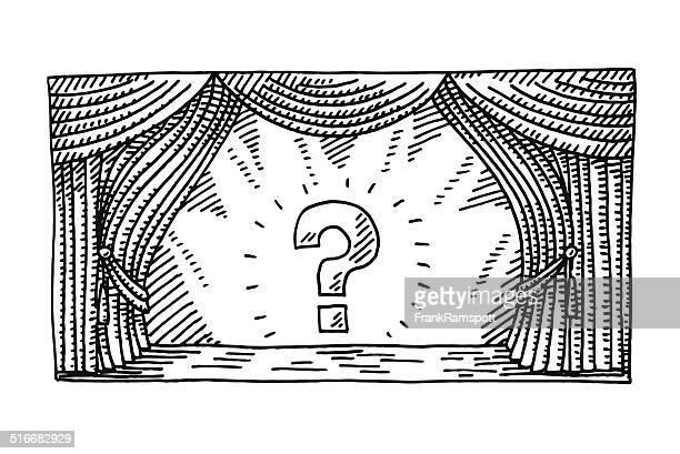 Bühne Rampenlicht Fragezeichen zeichnen