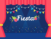 Stage with Flags and Lights Garlands and Fiesta Sign. Mexican Theme Party or Event Invitation