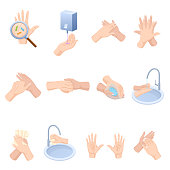 Stages proper care of hands, washing, preventive maintenance of bacteria, healthcare, health. Hand washing, disinfection, sanitary hygiene. Hand hygiene prevention, health care Vector illustration