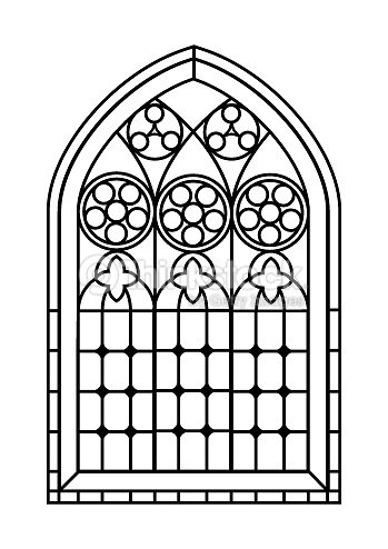 Stained Glass Window Colouring Page Vector Art Thinkstock