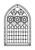 A Gothic Style stained glass window in black and white. Outline drawing  colouring activity page. EPS10 vector format.