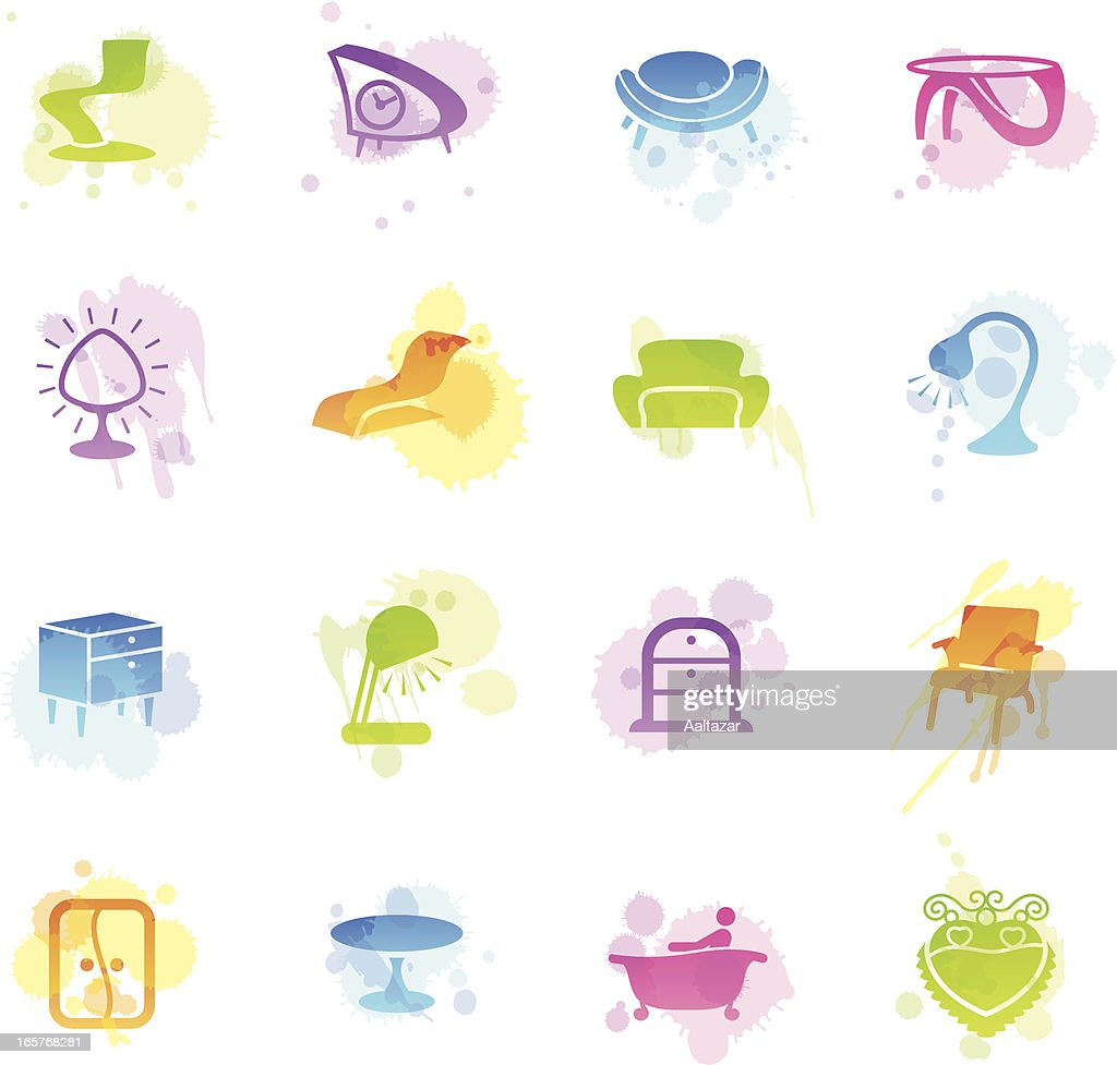 Stains Icons Retro Furniture Vector Art Getty Images