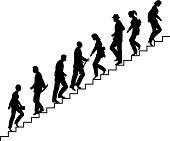 Editable vector silhouette of people on stairs with all elements as separate objects. hi-res jpeg file included.