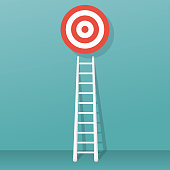 Stairs to goal isolated on background. Vector illustration flat design. Stairs to top of target. Business concept. Ladder wall. Strategy to aim.
