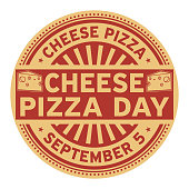 Cheese Pizza Day, September 5, rubber stamp, vector Illustration