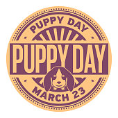 Puppy Day, March 23, rubber stamp, vector Illustration