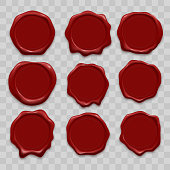 Stamp wax seal vector icons set of red sealing wax old realistic stamps labels on transparent background