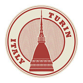 Stamp with words Turin, Italy inside, vector illustration