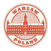 Stamp with words Warsaw, Poland inside, vector illustration