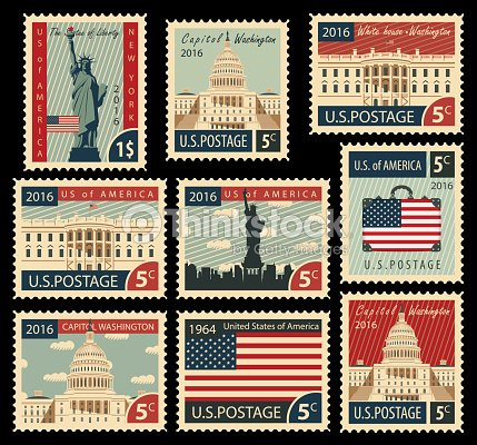 Stamps with united states of america landmarks vector art for New york state architect stamp
