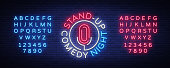 Stand Up Comedy Show is a neon sign. Neon , bright luminous banner, neon poster, bright night-time advertisement. Stand up show. Invitation to the Comedy Show. Vector. Editing text neon sign.