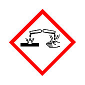 Standard Pictogam of Corrosive Symbol, Warning sign of Globally Harmonized System (GHS)
