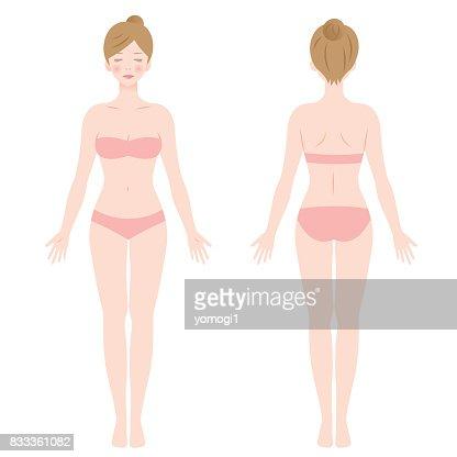 standing female body : stock vector