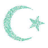 Star and crescent - symbol of Islam  icon for apps and websites, green polka dots concept