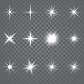 Vector illustration. Set of glowing light effect stars bursts sparkles, transparent white on grey background.