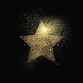 Star symbol concept illustration, gold icon made of realistic golden glitter dust on black background. EPS10 vector.