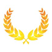 Golden triangle laurel wreath of winner for rewarding for ighest achievement. Flat vector cartoon illustration. Objects isolated on a white background.