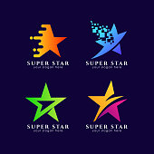 star symbols template in gradient color style