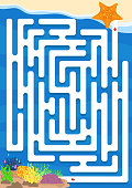 starfish back to the underwater. Maze game for kids