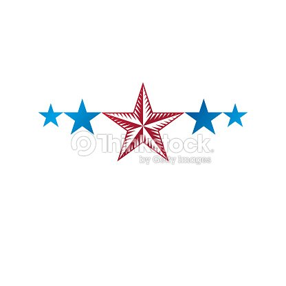 5 Stars Emblem Ranking Symbol Heraldic Coat Of Arms Decorative Sign