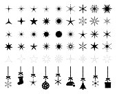 black isolated stars snowflakes christmas silhouettes