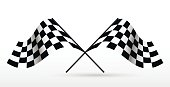 Start and finish flags. Auto Moto racing competitions.