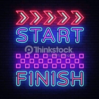 start finish neon sign vector start finish design template neon sign