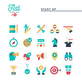 Start up business, entrepreneurship and more, thin line icons set, vector illustration