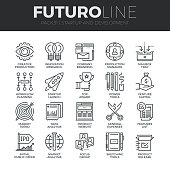 Modern thin line icons set of startup business and launch new product on market. Premium quality outline symbol collection. Simple mono linear pictogram pack. Stroke vector symbol concept for web grap