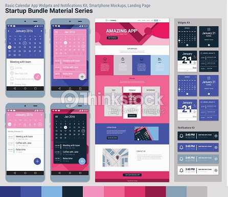 startup bundle material serie mobile app benutzeroberflache und die landing page