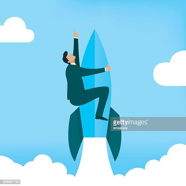 Startup Business. Businessman on a rocket