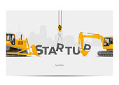 Startup Creation Building Construction Development. Realistic Vector Illustration.