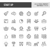 30 thin line icons associated with start-up company. Symbols such as rocket, binocular and other start-up related items are included in this set. 48x48 pixel perfect vector icon & editable vector..