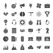 Startup Solid Web Icons. Vector Set of Business Glyphs.