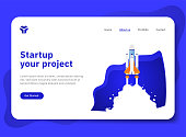 Startup your project for website with spaceship illustration. Modern flat design concept of landing page template. Easy to edit and customize. Vector EPS 10