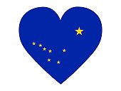 Vector illustration of the US State of Alaska Love Flag