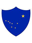 Vector illustration of the US State of Alaska Shield Flag